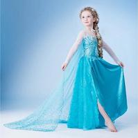 2014 Newest Style baby dresses Cartoon girls blue princess dress Forzen elsa girl party dress evening dress retail free shipping