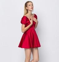 Women Summer Dress Short Sleeves Red Ruffles Casual Dresses V Sexy Vintage vestidos vestido de festa atacado roupas femininas