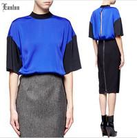 2014 Fashion Western Dress!  Batwing Sleeve Back Kick Pleat Stitching Slim OL Women Mid Dresses NM501