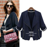 Modern Stylish Autumn 2014 Trench Coat For Women Zipper Fly Pockets Decorated Three Quarter Sleeve Ladies Coats 8040