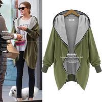 European Plus Size Loose Women Winter Coat 2014 Fashion Zipper Fly Cotton Outerwear Irregular Long Sleeve Casual Coats 3068