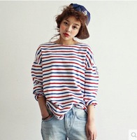New 2014 Autumn Winter Fashion Long-Sleeved Contrast Color Striped Loose Hoodies  O-neck Sweatshirt Tops girl t shirt women 808