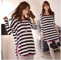 New 2014 Autumn Winter Fashion Long-Sleeved  Long Style Striped Loose Casual  O-neck Sweatshirt Tops girl t shirt women 819