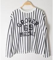 New 2014 Autumn Winter  Fashion Plus Size  Loose Long Sleeved Vertical Striped O-neck Sweatshirt Tops girl t shirt women 811