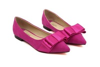 2014 European Tip Flat Bow Sexy Shoes,Women's Flat Leisure Shoes,Women's genuine leather Shoes