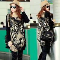 2014 autumn plus size clothing sexy loose long-sleeve tiger bat dress