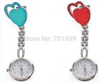 50pcs/lot New Double heart style nurse pocket watch doctor quartz metal watches 10 colors