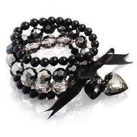 Hot sale 2014 NEW fashion Black Peach Heart Bracelet Beads Braided Bracelet Bow Bracelet Bangles for Women man Fashion Jewellery
