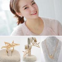 Fashion Jewelry Set Papercranes Crane Pendant Necklace / Ring / Earrings Costume Wedding Bridal Jewelry Gift