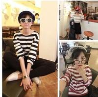 New 2014 Autumn Winter Fashion Free Shipping  Long-Sleeved  Loose Casual O-neck Striped  Sweatshirt Tops girl t shirt women 817