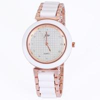 Simple Fashion Women Lady Girl Wrist Watches Round Dial Quartz Analog Watch Ceramics Strap Rose Gold