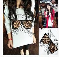 New 2014 Autumn Winter  Fashion Loose Leopard Cat Print Long Sleeved T shirt  O-neck Sweatshirt Tops girl t shirt women 806