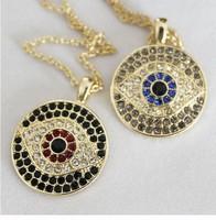 HOT Selling 2014 Fashionable Jewelry Crystal Rhinestone Evil Eye Hamsa Charms Pendants Necklaces For Women Xmas Gift