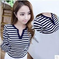 New 2014 Autumn Winter  Hot Sales100% Cotton Loose Long Sleeve Horizontal Striped V-neck Sweatshirt Tops girl t shirt women 8049