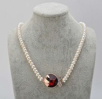 free shipping 6-7 mm natural freshwater pearl necklace Fish type pendant 539/