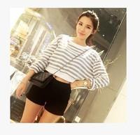 New 2014 Autumn Winter  Hot Sales Loose Long Sleeved Horizontal Striped O-neck Short  Sweatshirt Tops girl t shirt women 809