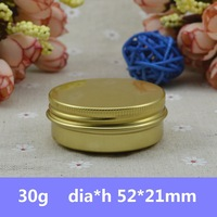 Free Shipping 100pcs/lot  30ml Gold Aluminum Empty Round Jar for Cream Metal Sample Container Lip Balm Container with Screw Cap