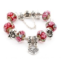 2014 New Brand Fashion 925 Silver Charm Bead Bracelet for Women Fine Glass Beads DIY Mother & Daughter Heart Love Jewelry SL1019