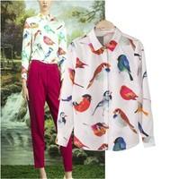 Autumn Fashion Women's Animal Printed Pattern Long-sleeve Loose Chiffon Blouse White Shirts