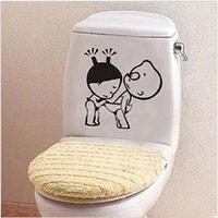 2014 New Funny Cute Kids Wall Stricker Home Decoration Creative Toilet stickers bathroom decro