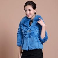 new 2014 winter High quality fox collar fashion female jacket clothing 100% rabbit fur coat women short clothes 6987