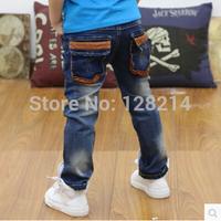 Free Shipping Children's Clothing 2014 Latest Designer Kids Jeans Autumn New Korean Boy Pants Jeans Fashion Denim Boy Jeans