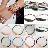 2014 Fashion Women Girl Bracelet Handmade Rope Chain Feather String Knitted Bracelets & Bangles Best Gift