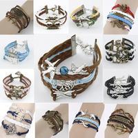 NEW 2014 Girl Jewelry Vintage Braided Anchors Rudder Metal Leather Bracelet Multilayer Rope Bracelets Wholesale Bangle