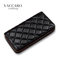 Hot Sale! Brand Women's  Long Wallet Sheepskin New Genuine Leather Women's Long Grid Wallets  Female Wallets Clutches Leather