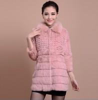 100% rabbit fur coat women long clothes new 2014 winter High quality fox collar fashion female jacket clothing 6988