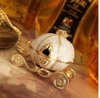 hot sale New sweet Cinderella fairy tale pumpkin carriage alloy chains necklace/sweater pendants