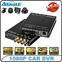 2014 hot sale 4CH 3G WIFI G-Sensor GPS 1080P SD Card DVR for bus, taxi, police car from asmile