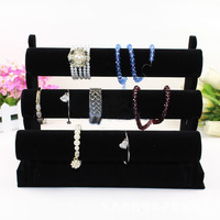 Gift New Black 3-Tier Velvet Watch Earring Ring Necklace Bracelet Jewelry Display Holder Stand Rack High Quality Free Shipping