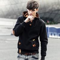 Brand new 2014 suits autumn&winter casual Han style men'sHooded fleece long sleeve stand collar fleece woollen cotton hoodies