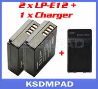 2 pcs camera battery + akku charger 875mAh LP-E12 LP E12 for Canon EOS-M REBEL SL1 100D Fully Decoded