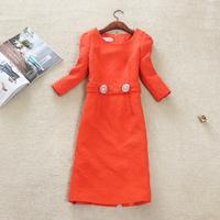 Free shipping 2014 new Women Korean temperament OL long sections Slim Sleeve jacquard printed package hip thin dress
