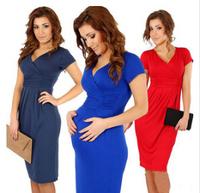 New Fashion 2014 Elegant Celebrity V-neck Short Klee-length Cotton Casual Women Dress