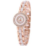 Fashion Elegant Women Ladies Girls Wrist Watches Round Dial Quartz Analog Watch Bracelets Rose Gold Mosaic Diamond