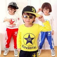 2014 autumn fall new arrival children's clothing treasure stars striped letter suit cartoon set 3T-10