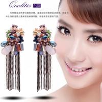 YTEH24 Designer Crystal Flower Earrings Dangle Drop Bijoux Tassel Earring Statement Unique Jewelry Elegant Gold Plated For Women