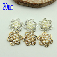20mm Gold rhinestone 60pcs/lot Pearl Rhinestone,Acrylic Rhinestone Buttons for Embellishment,Hair/Garment Accessories