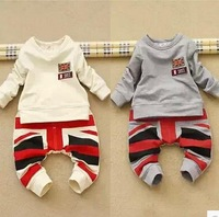 New 2014 baby boys flag long-sleeved shirts + pant children kids fashion clothing sets for autumn A133