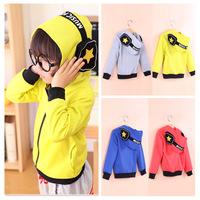 2014 fall autumn new children's clothing cartoon headphone zipper boys kids hoodies sweatshirt 3T-10