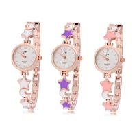 Fashion Elegant Women Ladies Girl Wristwatches Round Dial Star Moon Watchband Quartz Analog Watch Bracelets Rose Gold