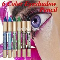 6 Color Waterproof Cosmetic Makeup Glitter Lipliner EyeShadow Eyeliner Pencil Eye Pen Free Shipping
