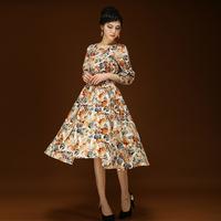 2014 autumn women's small 100% cotton slim elegant loose expansion plus size print dress
