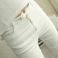 S-XXL Plus Size Autumn Women's Pants Fashion Elastic Button Slim Trousers Pants Plus Size Pants White and Black Pencil Pants