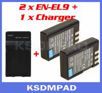 2 pcs SLR battery + batterie akku charger 1200mAh EN-EL9 EN EL9 EN-EL9a for Nikon D40 D40X D60 D3000 D5000 DSLR