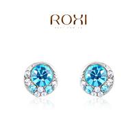 2014 fashion blue genuine crystal luxury original design  women stud earrings  the best gift jewelry genuine freeshipping