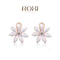 2014 new fashion roxi romantic luxury flower crystal women dangle earrings brincos grandes hand made tin alloy freeshipping